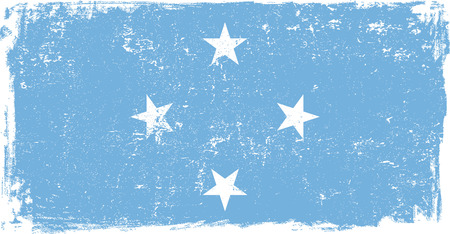 micronesia: Micronesia vector grunge flag isolated on white background. Illustration