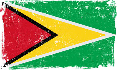 guyanese: Guyana vector grunge flag isolated on white background. Illustration