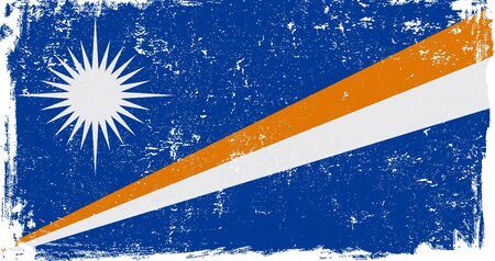 marshall: Marshall Islands vector grunge flag isolated on white background.