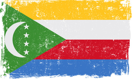 comoros: Comoros vector grunge flag isolated on white background.