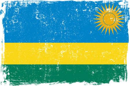 rwanda: Rwanda vector grunge flag isolated on white background. Illustration