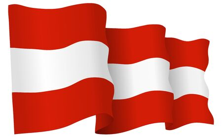 austria flag: Austria flag waving isolated on white in vector format. Illustration