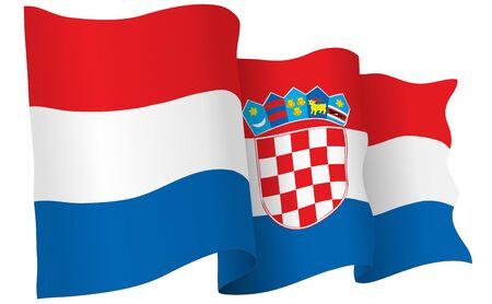 bandera de croacia: Croatia flag waving isolated on white in vector format.