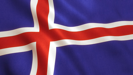 Iceland flag waving full frame background texture.