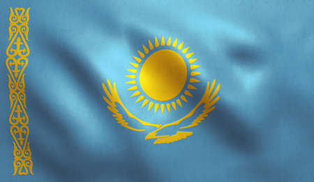 Kazakhstan flag background with fabric texture. Stock Photo