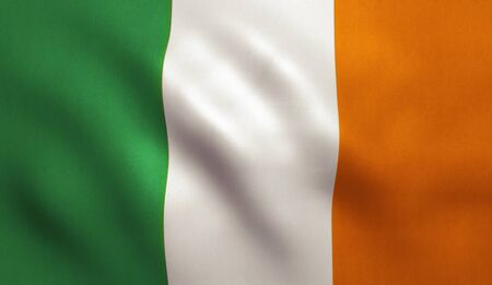 ireland flag: Ireland flag with fabric texture. 3D illustration.