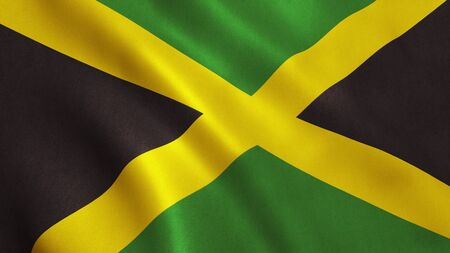 jamaican: Jamaica flag background with fabric texture. 3D illustration. Stock Photo