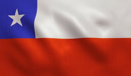 Chile flag with fabric texture. 3D illustration. Stock Photo