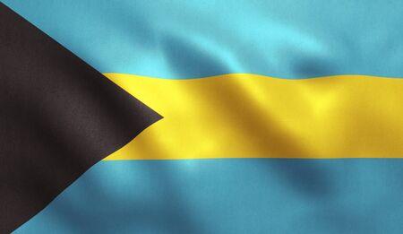 Bahamas flag with fabric texture. 3D illustration.