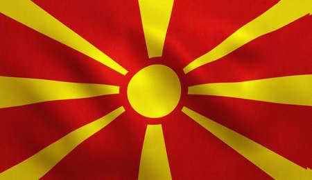Macedonia FYROM flag with fabric texture. 3D illustration.