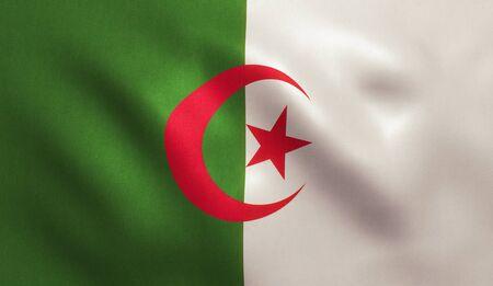 Algeria flag with fabric texture. 3D illustration.