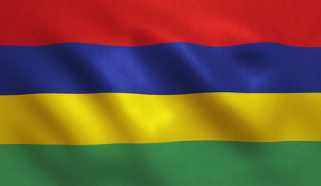 Mauritius flag with fabric texture. 3D illustration. Stock Photo