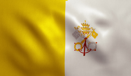 Vatican City flag with fabric texture. 3D illustration.