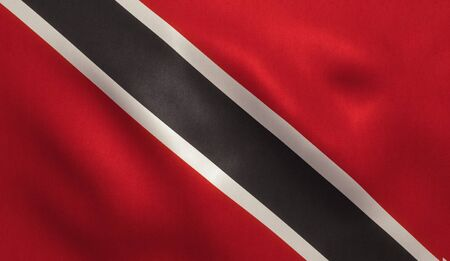 port of spain: Trinidad and Tobago flag with fabric texture. 3D illustration.