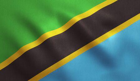 tanzania: Tanzanian flag with fabric texture. 3D illustration. Stock Photo
