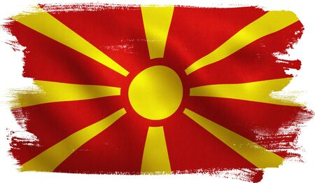 Macedonica FYROM flag with fabric texture. 3D illustration.
