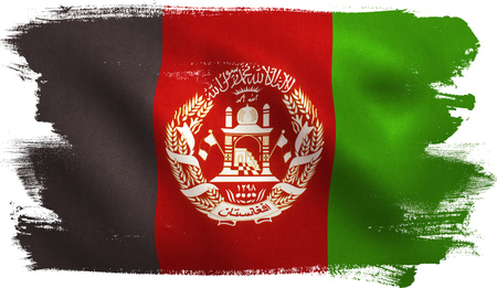 Afghanistan flag with fabric texture. 3D illustration.