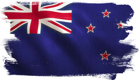 New Zealand flag background with fabric texture. Stock Photo