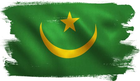Mauritania flag with fabric texture. 3D illustration. Stock Photo