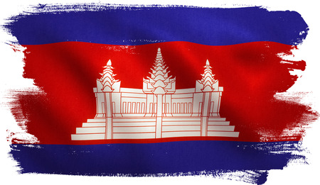 Cambodia flag with fabric texture. 3D illustration.