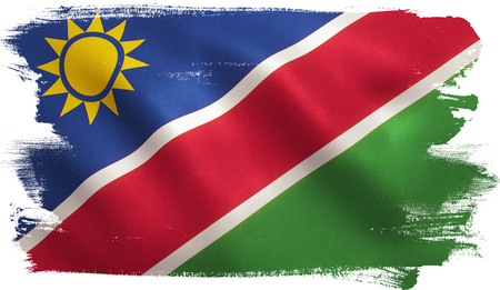 Namibia flag with fabric texture. 3D illustration.