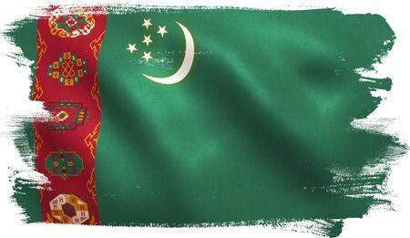 Turkmenistan flag with fabric texture. 3D illustration. Stock Photo