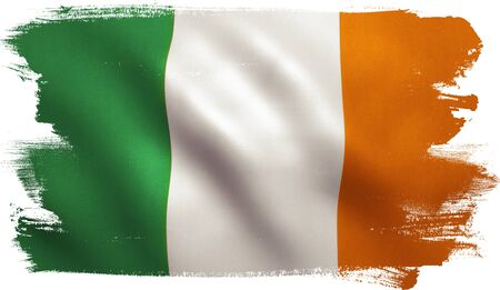 Ireland flag with fabric texture. 3D illustration.
