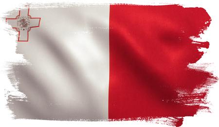 Malta flag with fabric texture. 3D illustration.