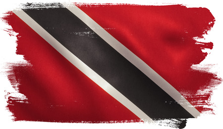Trinidad and Tobago flag with fabric texture. 3D illustration.