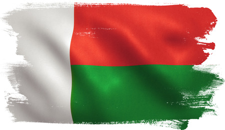 Madagascar flag with fabric texture. 3D illustration.