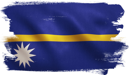 Nauru flag with fabric texture. 3D illustration.