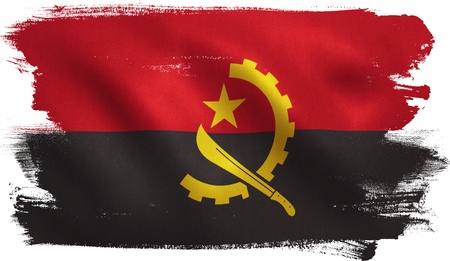 Angola flag with fabric texture. 3D illustration.