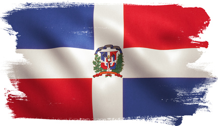 Dominican Republic flag with fabric texture. 3D illustration.