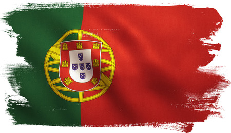 Portugal flag with fabric texture. 3D illustration.