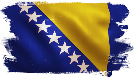 Bosnia and Herzegovina flag with fabric texture. 3D illustration.