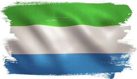 Sierra Leone flag with fabric texture. 3D illustration. Stock Photo