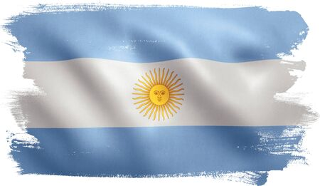 Argentina flag with fabric texture. 3D illustration.