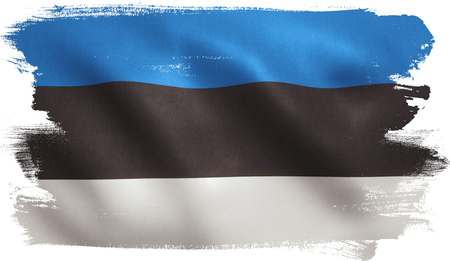 Estonia flag with fabric texture. 3D illustration. Stock Photo