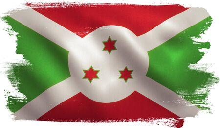 Burundi flag with fabric texture. 3D illustration. Stock Photo
