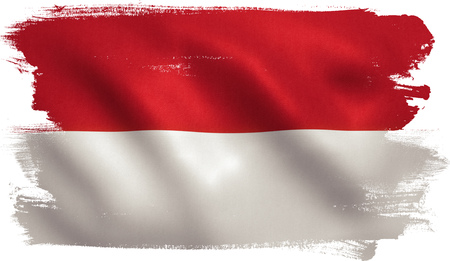Indonesia flag with fabric texture. 3D illustration. Stock Photo