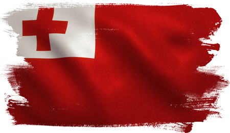 Tonga flag with fabric texture. 3D illustration. Stock Photo