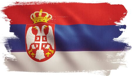 Serbia flag with fabric texture.