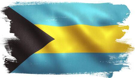 flag: Bahamas flag with fabric texture. 3D illustration.