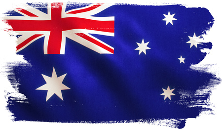 Australia flag background with fabric texture.