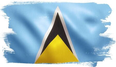 Saint Lucia flag with fabric texture. 3D illustration. Stock Photo