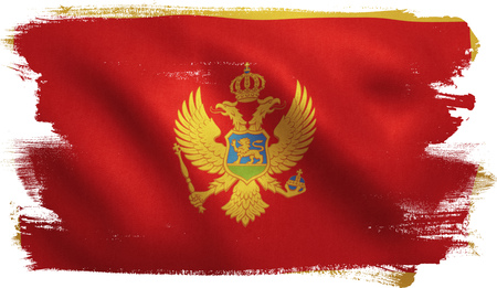 Montenegro flag with fabric texture. 3D illustration.