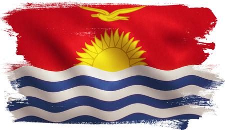 Kiribati flag with fabric texture. 3D illustration.