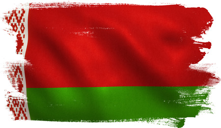 Belarus flag with fabric texture. 3D illustration.