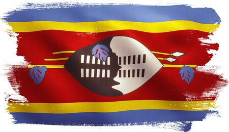 Swaziland flag with fabric texture. 3D illustration.