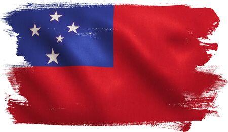 Samoa flag with fabric texture. 3D illustration.